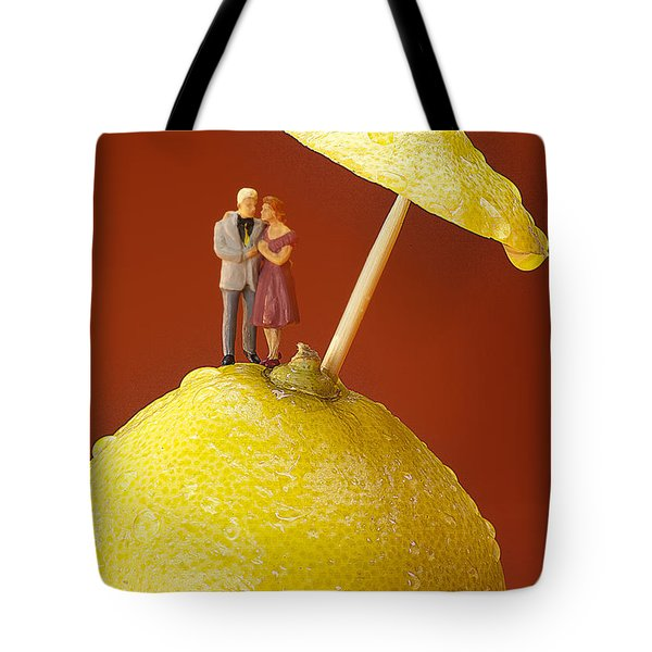 Tote Bag featuring the painting A Couple In Lemon Rain Little People On Food by Paul Ge