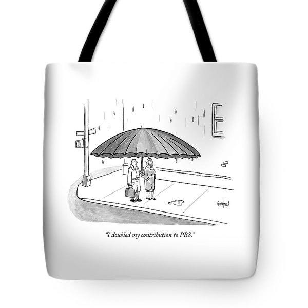 A Couple Under A Gigantic Umbrella On A City Tote Bag