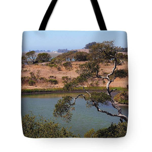 Tote Bag featuring the photograph A Cove In Late Summer At Elkhorn Slough by Susan Wiedmann