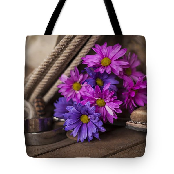 A Cowgirl's Flowers Tote Bag by Amber Kresge