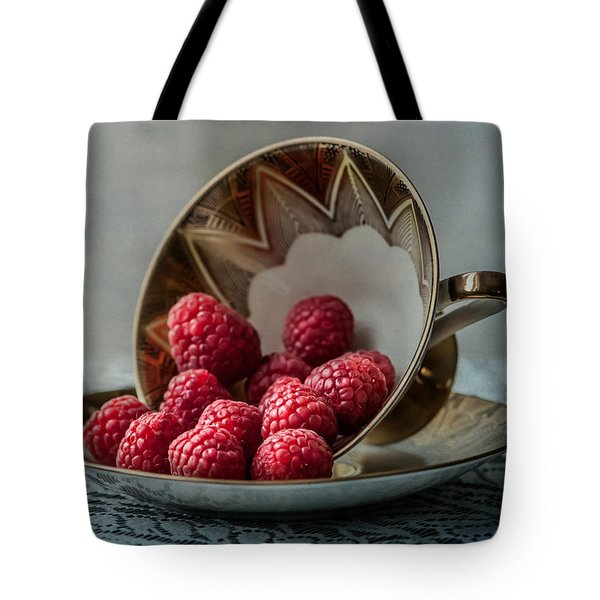 A Cupfull Of Raspberries Tote Bag by Maggie Terlecki