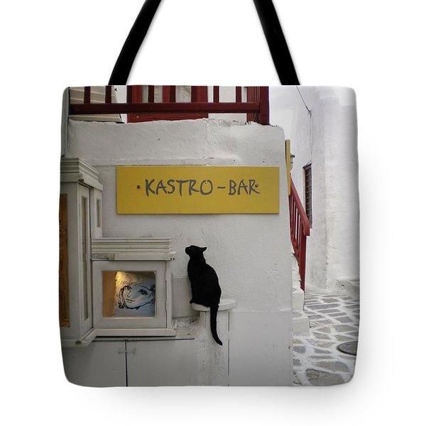 A Curious Cat In Mykonos Tote Bag