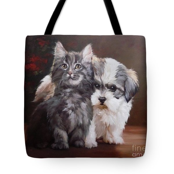 A Cute Couple - Custom Pet Portrait Tote Bag