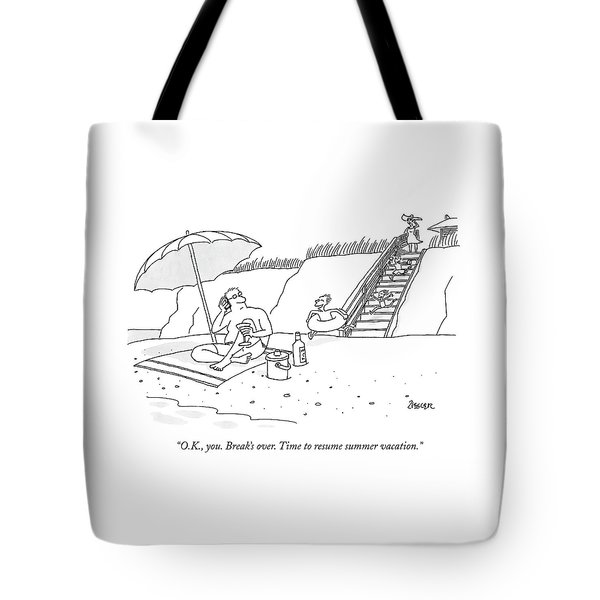 A Dad Seated Beneath An Umbrella At The Beach Tote Bag