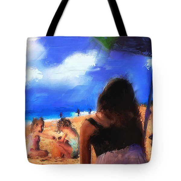 Tote Bag featuring the painting A Day At The Beach by Ted Azriel