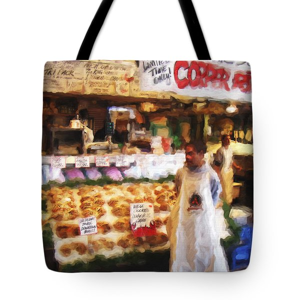 Tote Bag featuring the painting A Day At The Fish Market by Ted Azriel