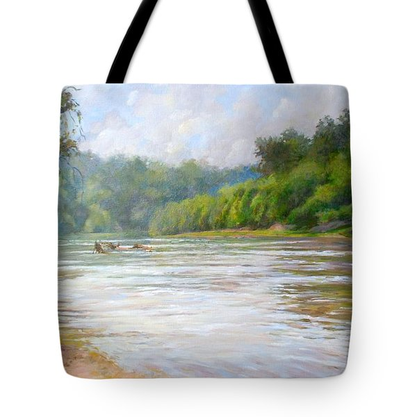 A Day At The River  Tote Bag by Nancy Stutes