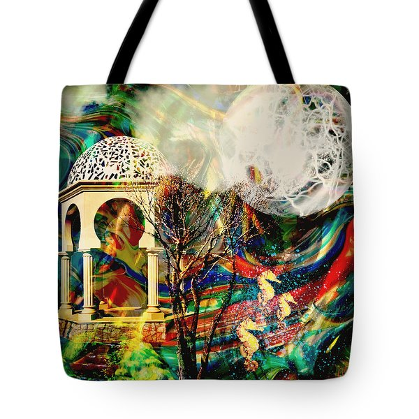 Tote Bag featuring the mixed media A Day In The Park by Ally  White