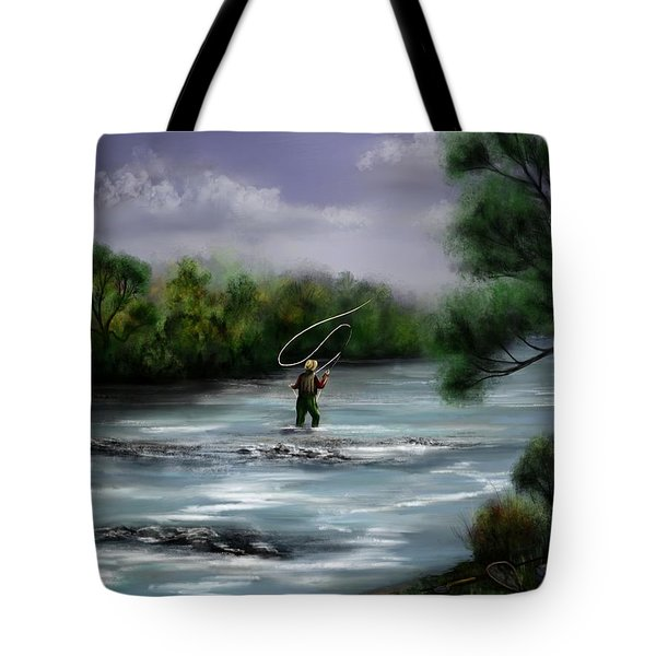 A Day On The Stream - Flyfishing Tote Bag