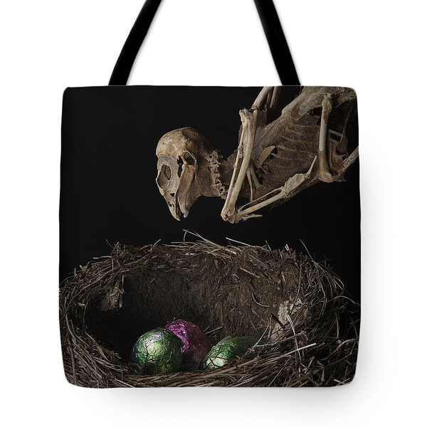 A Dead Bird Flies Into Its Nest Only To Find Chocolate Eggs Tote Bag