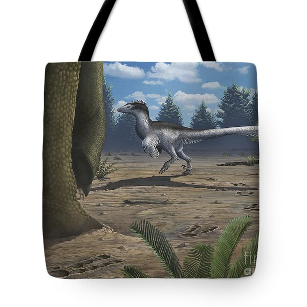 A Deinonychosaur Leaves Tracks Tote Bag by Emily Willoughby