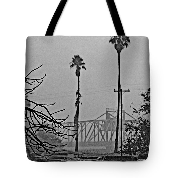 a Delta drawbridge in the morning mist Tote Bag