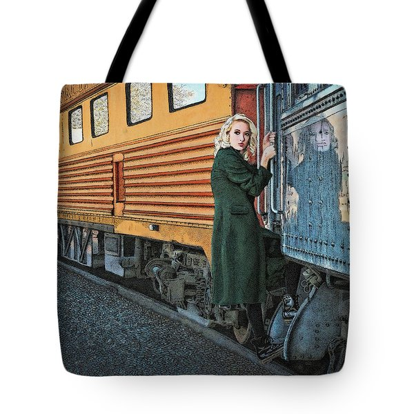 Tote Bag featuring the drawing A Departure by Meg Shearer
