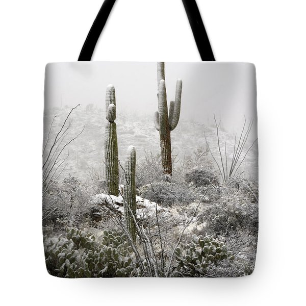 A Desert Snow Day  Tote Bag by Saija  Lehtonen