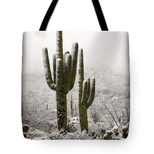 A Desert Southwest Snow Day  Tote Bag by Saija  Lehtonen