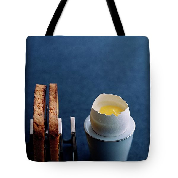 A Dessert Made To Look Like An Egg And Toast Tote Bag