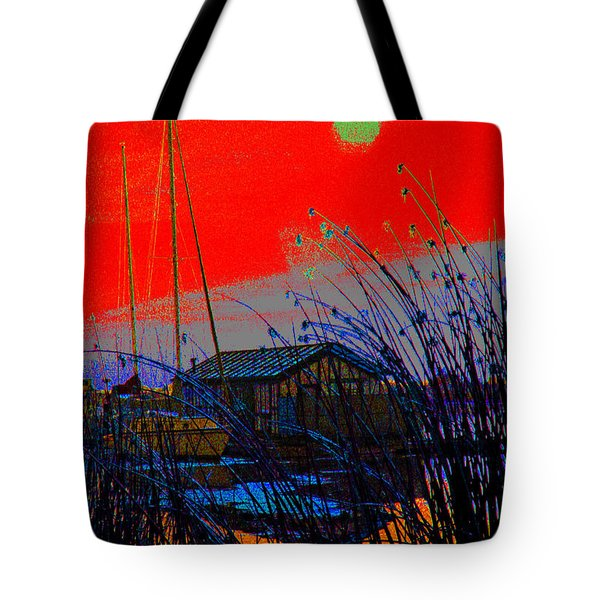 A Digital Marina Sunset Tote Bag