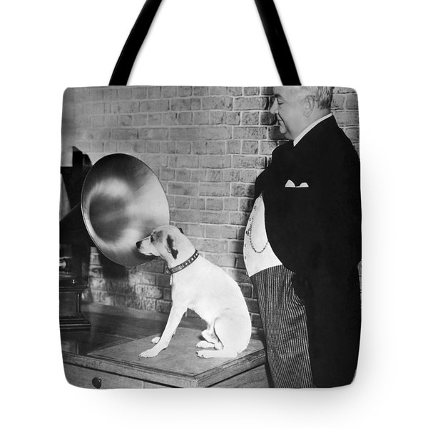 A Dog Listens To Gramaphone Tote Bag by Underwood Archives