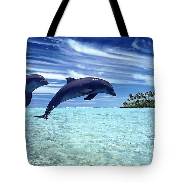 A Dolphins Tale Tote Bag by Marvin Blaine