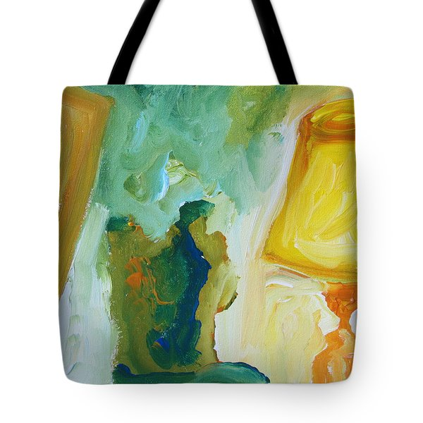 A Door A Chair And A Yellow Lamp Tote Bag