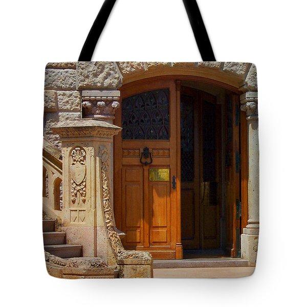 A Door In Monaco Tote Bag by Christine Burdine