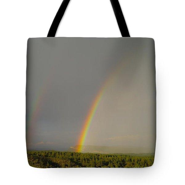 A Double Rainbow Near Durango Tote Bag by Jeff Swan
