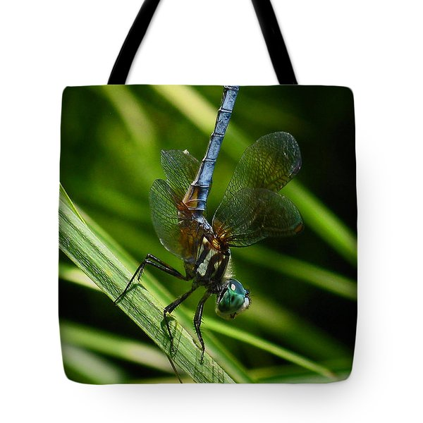 Tote Bag featuring the photograph A Dragonfly by Raymond Salani III