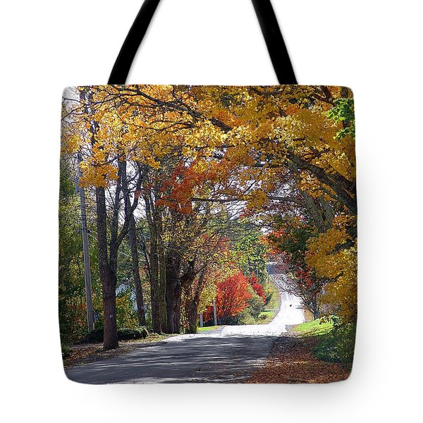 A Drive Through Autumn Beauty Tote Bag by Janet Ashworth