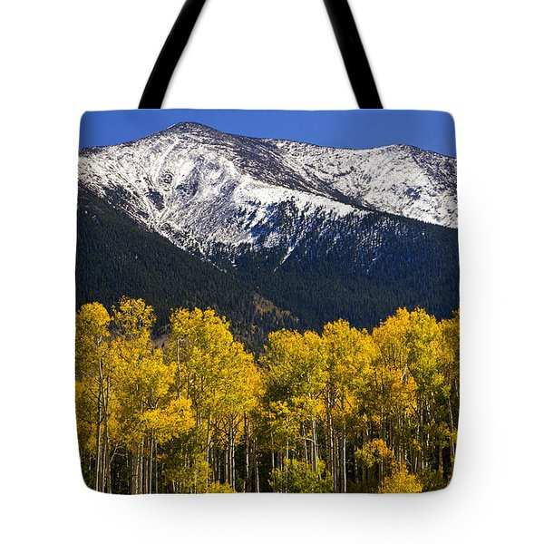 A Dusting Of Snow On The Peaks Tote Bag
