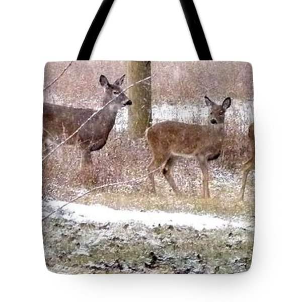 A Dusting On The Deer Tote Bag