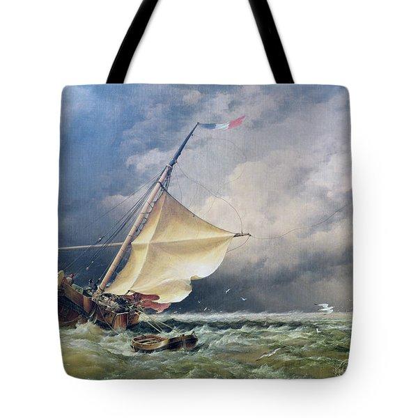 A Dutch Beurtman Aground Tote Bag by Edward William Cooke