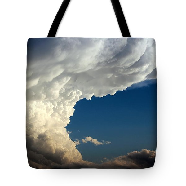 Tote Bag featuring the photograph A Face In The Clouds by Barbara Chichester