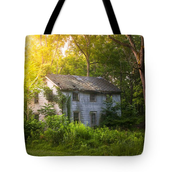 A Fading Memory One Summer Morning - Abandoned House In The Woods Tote Bag by Gary Heller