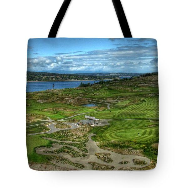 A Fairway To Heaven - Chambers Bay Golf Course Tote Bag by Chris Anderson