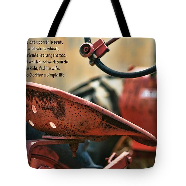 A Farmer And His Tractor Poem Tote Bag