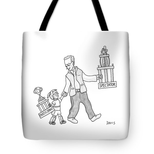 A Father And Daughter Both Walk Tote Bag