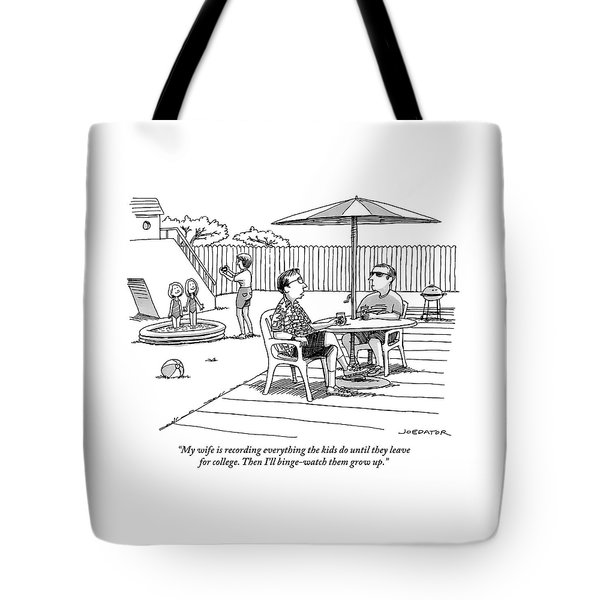 A Father Speaks To A Man Under An Umbrella Tote Bag