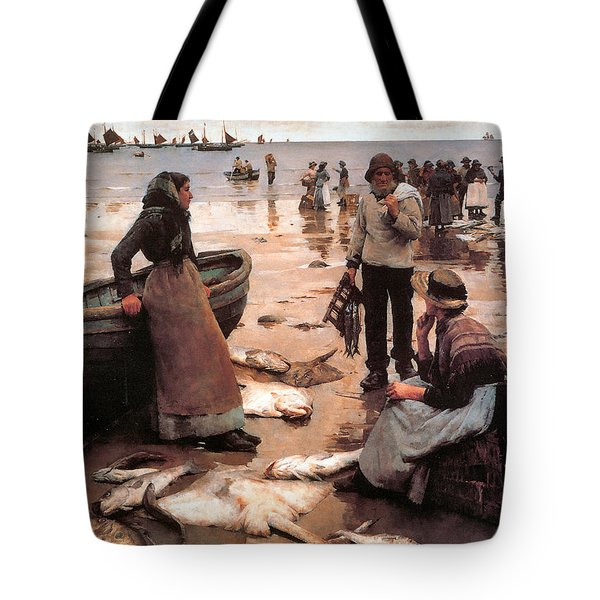 A Fish Sale On A Cornish Beach Tote Bag