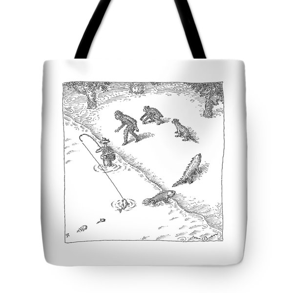 A Fisherman Wading In The Water  Catches A Fish Tote Bag