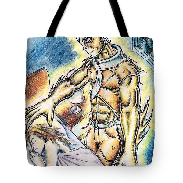 Tote Bag featuring the painting A Fishy Being From Beyond by Shawn Dall