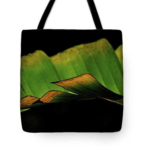 A Floating Heliconia Leaf Tote Bag by Lehua Pekelo-Stearns