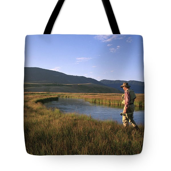 A Fly-fisherman Walks The Banks Tote Bag