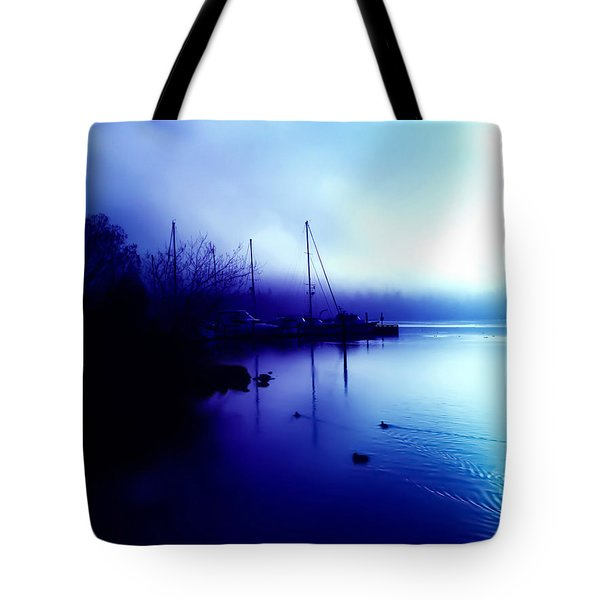 Tote Bag featuring the photograph A Foggy Day At Log Boom Park In Kenmore Washington by Eddie Eastwood