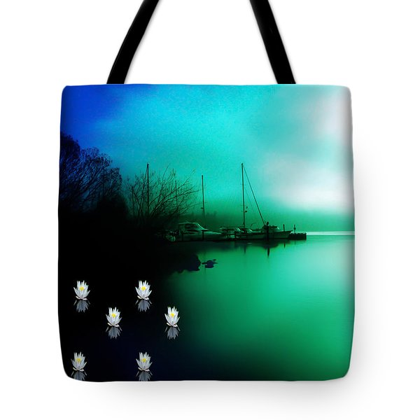 Tote Bag featuring the photograph A Foggy Day At Log Boom Park On Lake Washington by Eddie Eastwood