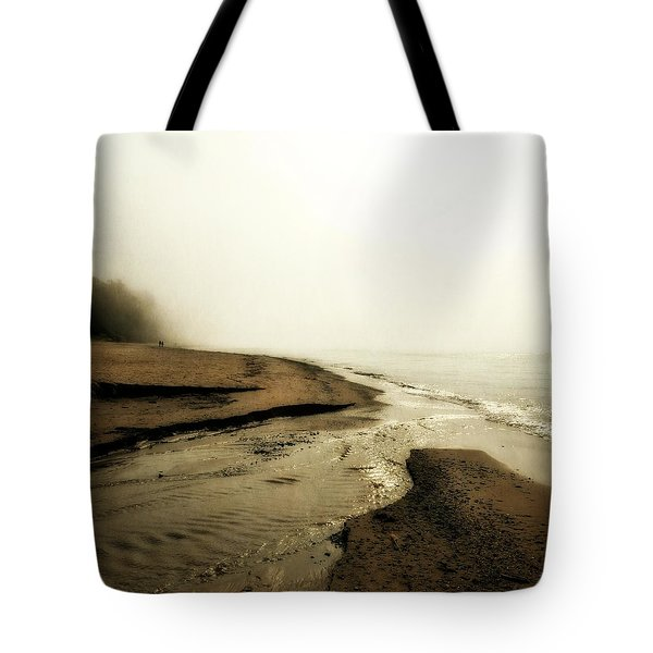 A Foggy Day At Pier Cove Beach Tote Bag by Michelle Calkins