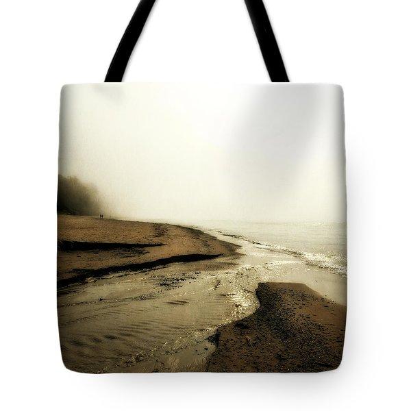A Foggy Day At Pier Cove Beach Tote Bag
