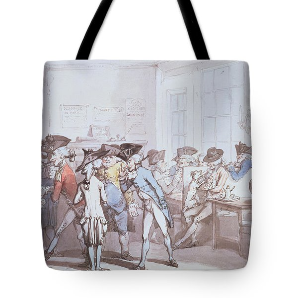 A French Coffee House Tote Bag by Thomas Rowlandson