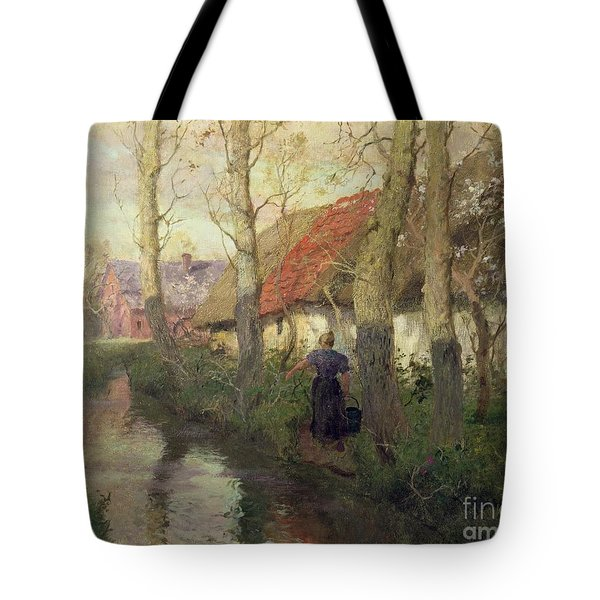A French River Landscape With A Woman By Cottages Tote Bag by Fritz Thaulow