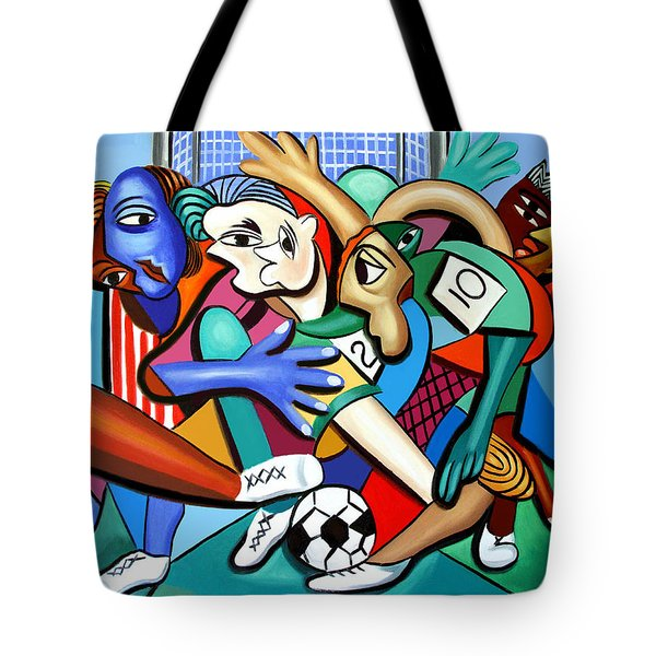 Tote Bag featuring the painting A Friendly Game Of Soccer by Anthony Falbo