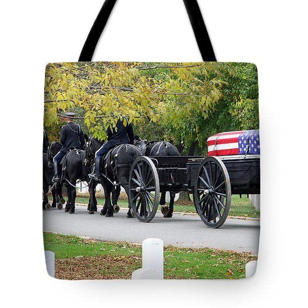 Tote Bag featuring the photograph A Funeral In Arlington by Cora Wandel